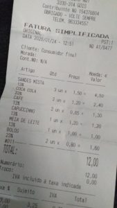 receipt for food and drink in Portugal